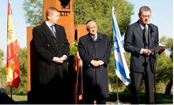 Holocaust Memorial in Madrid during a ceremony with the presence of the Mayor of Madrid in January 2008.